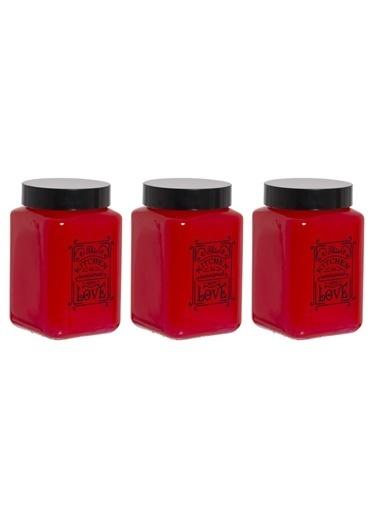 Herevin Herevin 147015-801 Parlak Kırmızı Boyalı Kitchen Love 3lü Kavanoz Seti Renkli